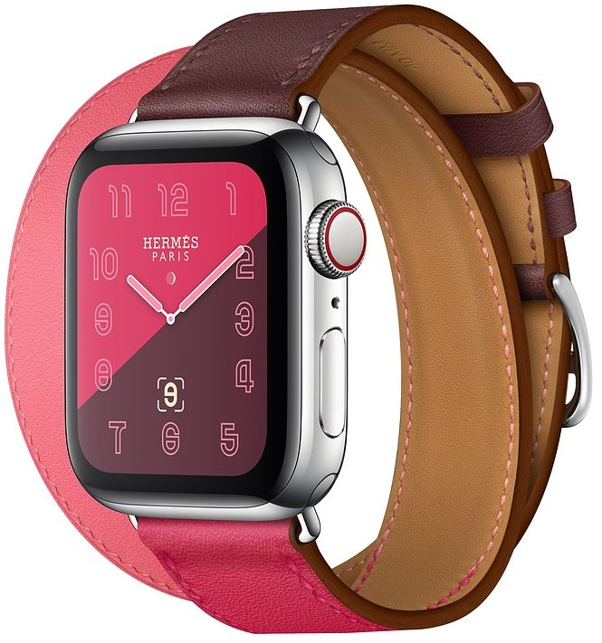 Часы Apple Watch Hermès Series 4 GPS + Cellular 40mm Stainless Steel Case with Bordeaux/Rose Extrême/Rose Azalée Swift Leather Double Tour (MU6R2), картинка 1