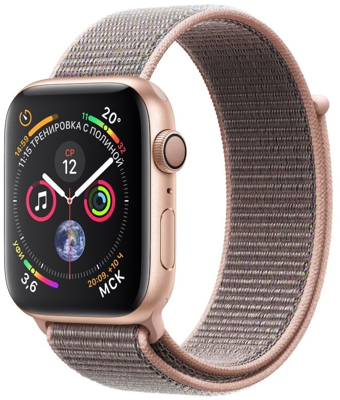 Часы Apple Watch S4 GPS 44mm Gold Aluminum Case with Pink Sand Sport Loop (MU6G2)