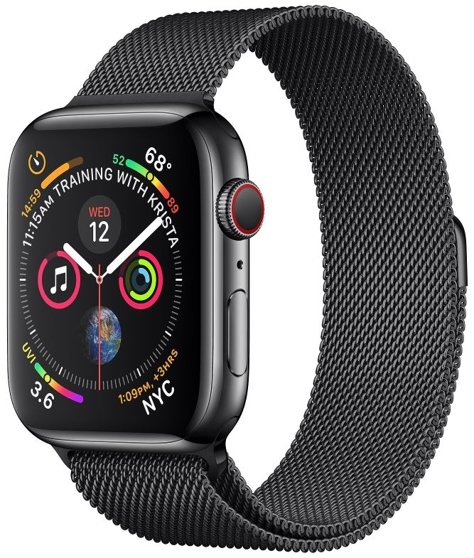 Часы Apple Watch S4 GPS+Cellular 44mm Black Stainless Steel Case with Space Black Milanese (MTV62)