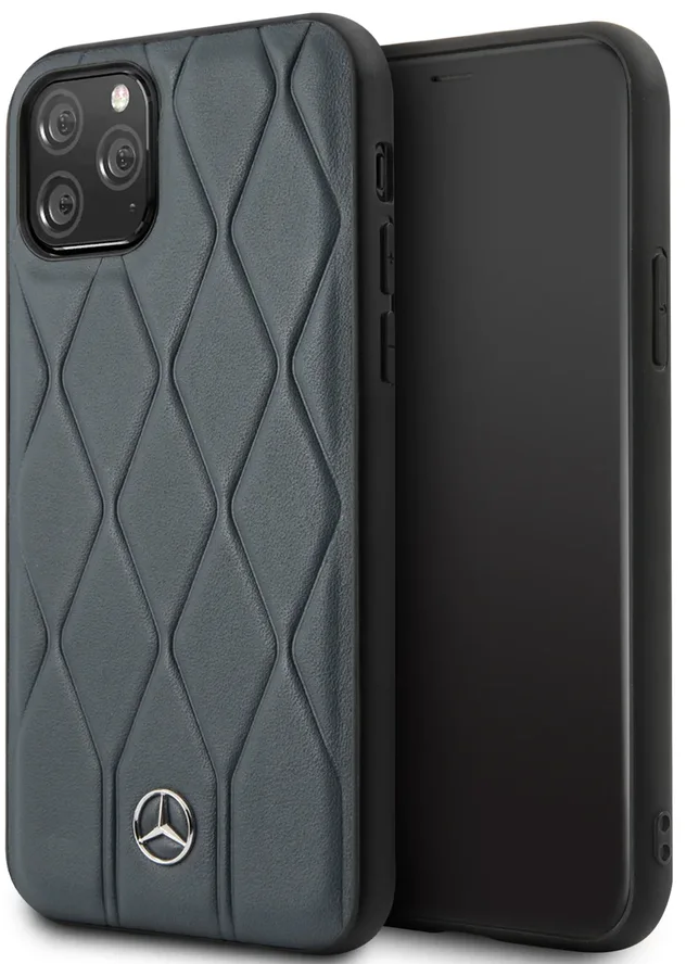 Чехол Mercedes для iPhone 11 Pro Max Wave Quilted Hard Leather Blue