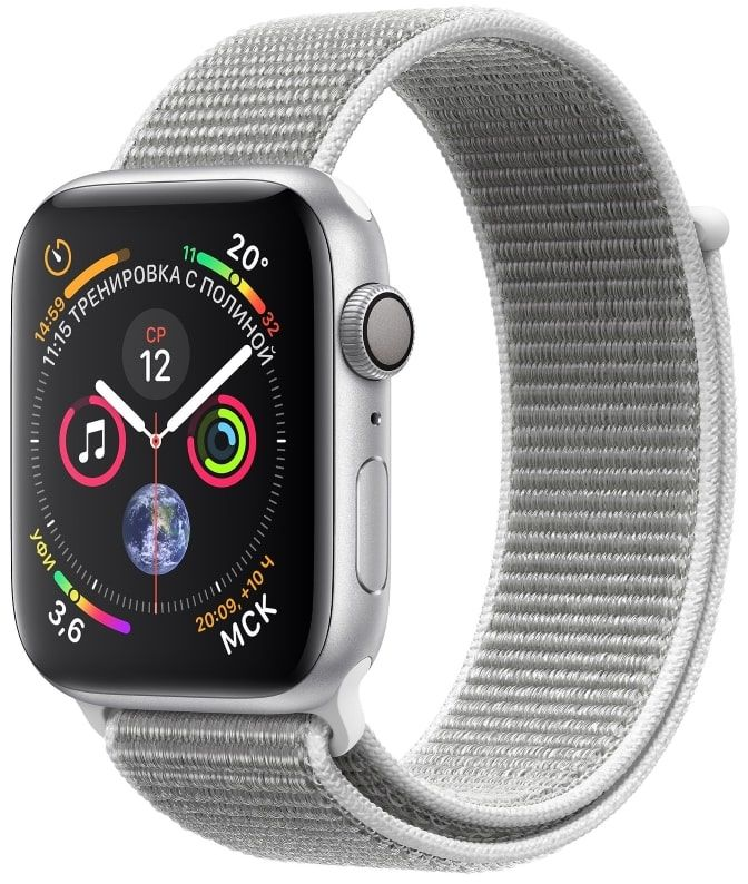 Часы Apple Watch S4 GPS 40mm Silver Aluminum Case with Seashell Sport Loop (MU652)