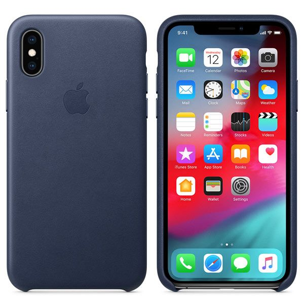Кожаный чехол Apple iPhone XS Leather Case Midnight Blue, картинка 2