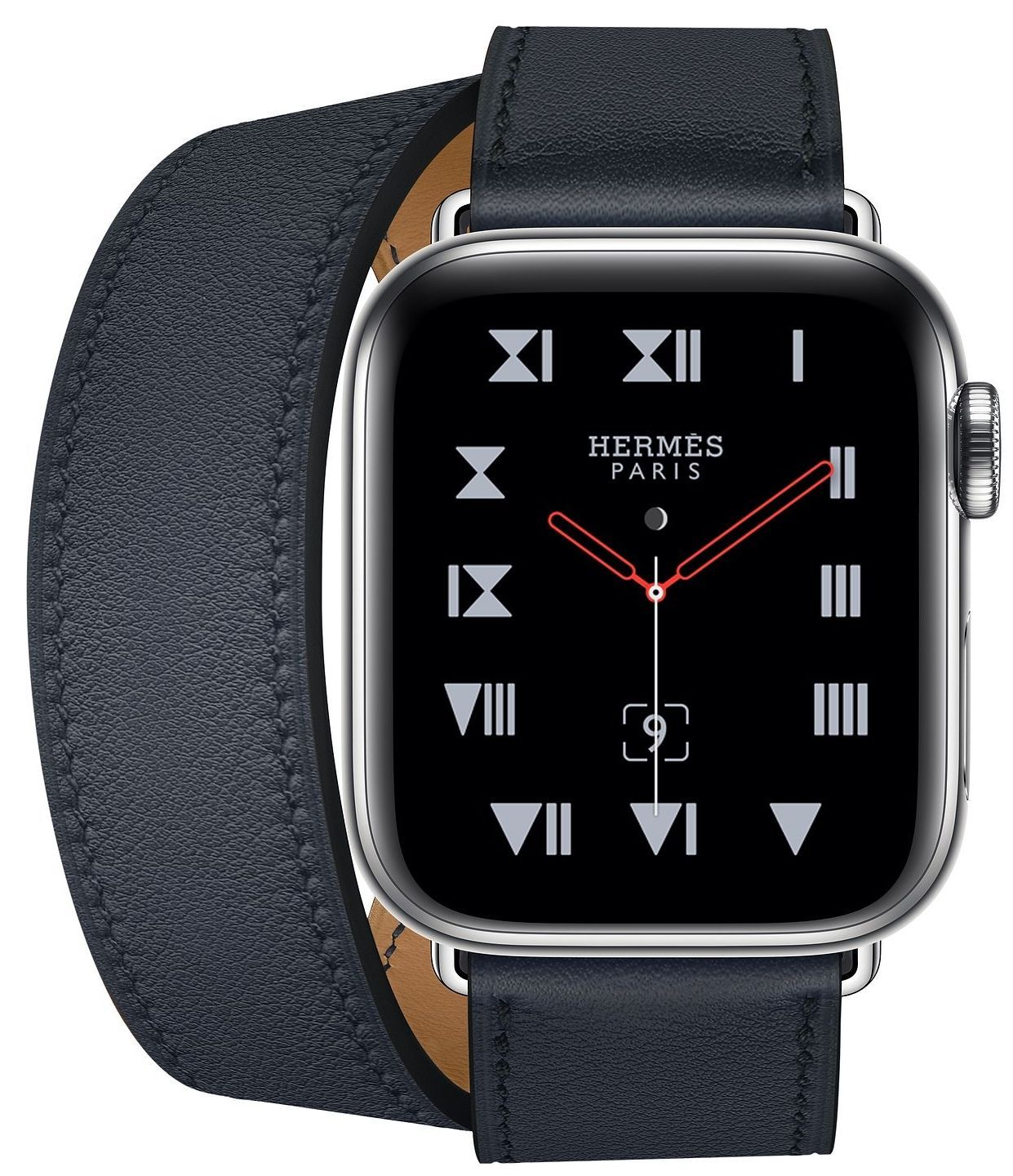 Часы Apple Watch Hermès Series 4 GPS+Cellular 40mm Stainless Steel Case with Bleu Indigo Swift Leather Double Tour (MU6Q2), картинка 2