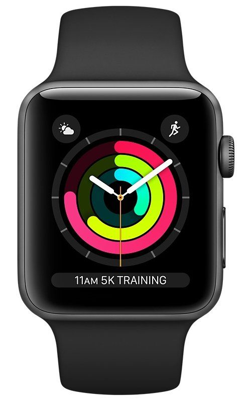 Часы Apple Watch S3 (GPS) 38mm Space Gray Aluminum/Black Sport Band (MQKV2), картинка 2