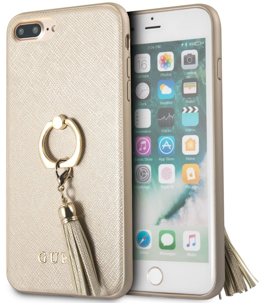 Чехол GUESS iPhone 7/8 Plus Saffiano Hard Ring Beige