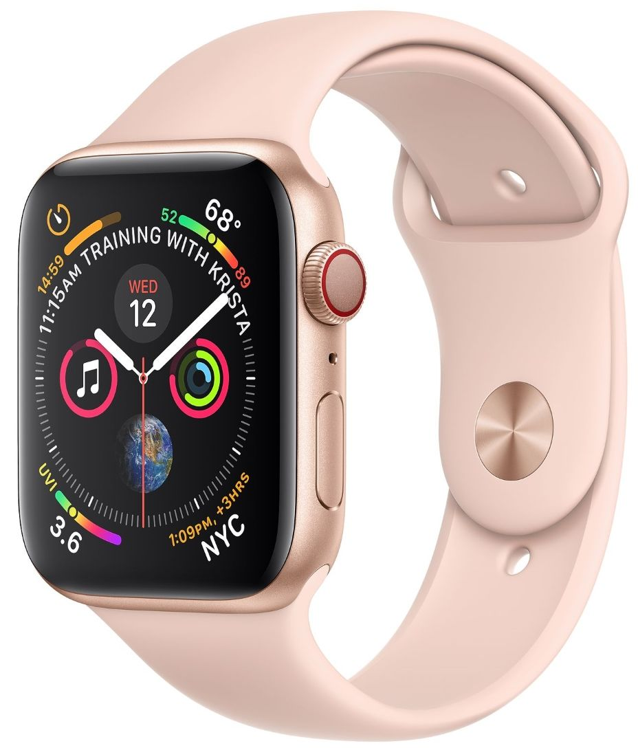 Часы Apple Watch S4 GPS+Cellular 40mm Gold Aluminum Case with Pink Sand Sport Band (MTUJ2)
