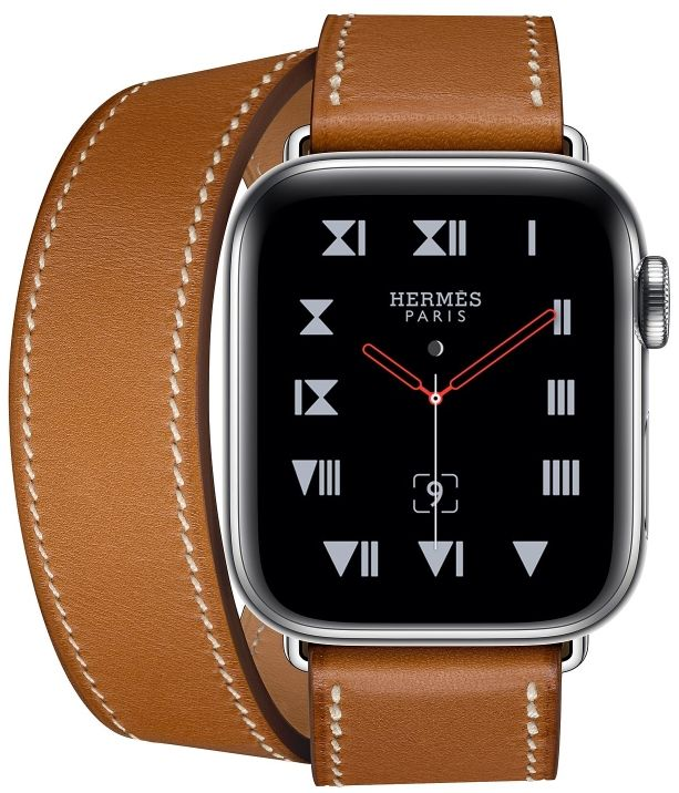 Часы Apple Watch Hermès Series 4 GPS+Cellular 40mm Stainless Steel Case with Fauve Barenia Leather Double Tour (MU6P2), картинка 2