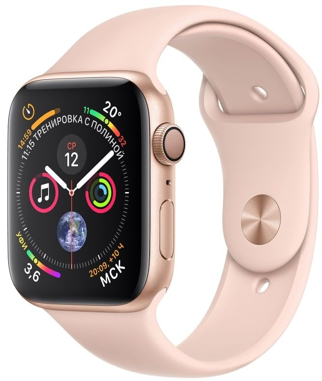 Часы Apple Watch S4 GPS 44mm Gold Aluminum Case with Pink Sand Sport Band (MU6F2)