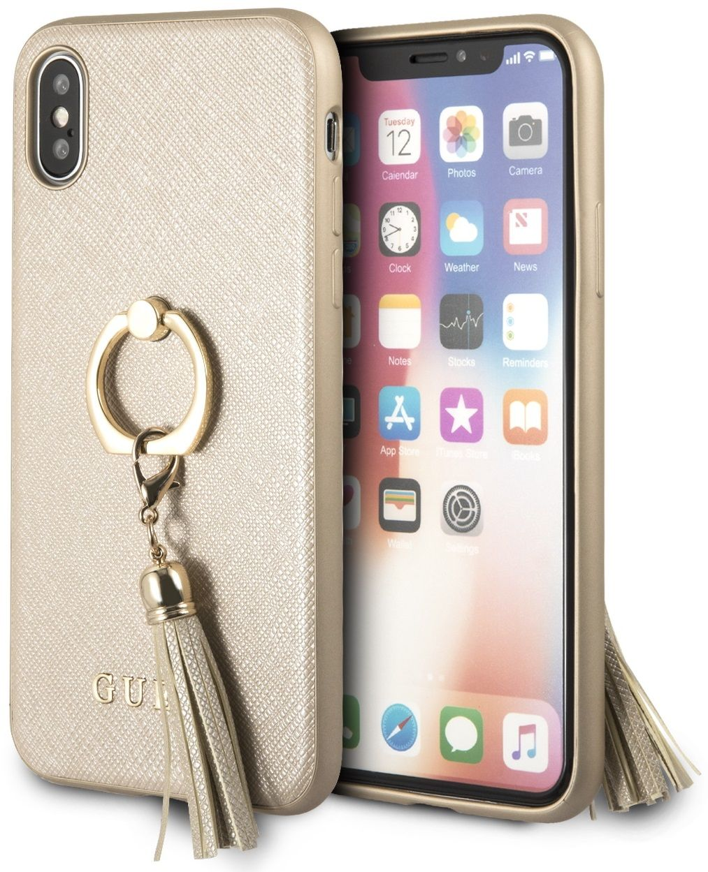 Чехол GUESS iPhone X/XS Saffiano Hard Ring Beige