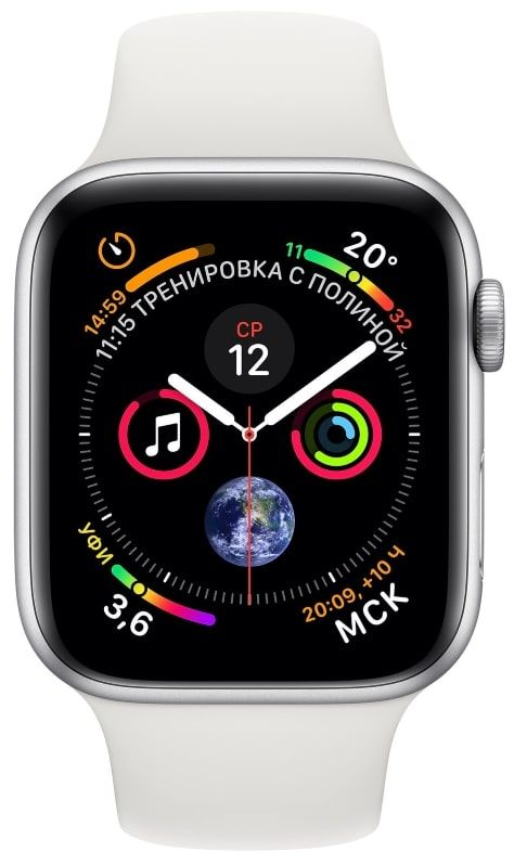 Часы Apple Watch Series 4 GPS 40mm Silver Aluminum Case with White Sport Band (Серебристый / Белый) (MU642), картинка 2