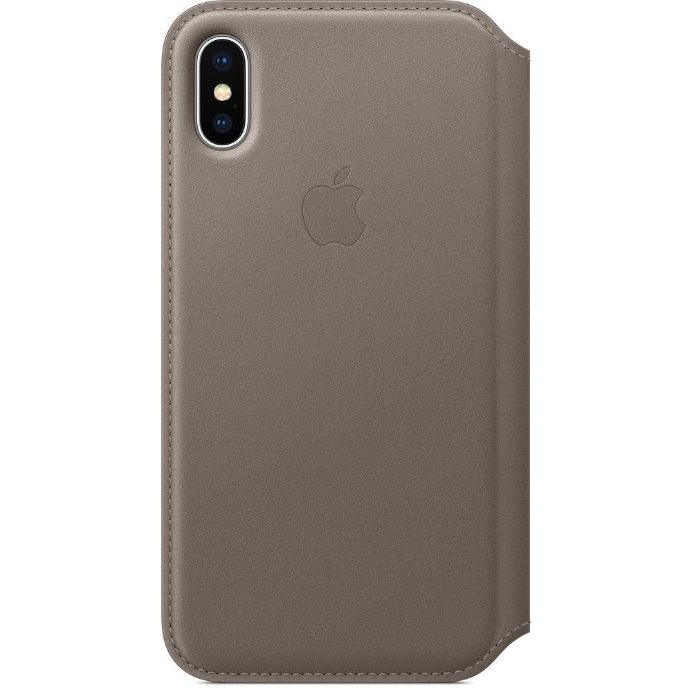 Кожаный чехол Apple iPhone X Leather Folio - Taupe