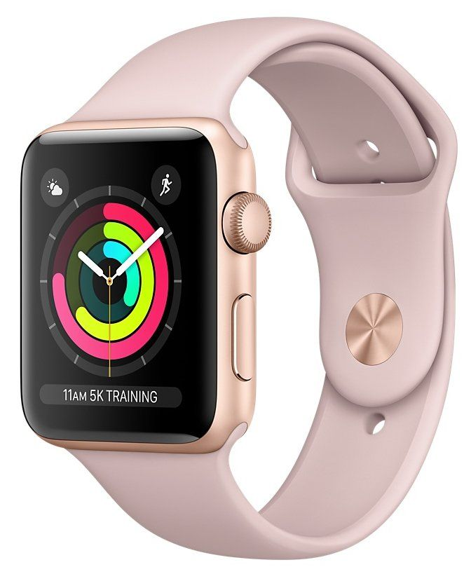 Часы Apple Watch Series 3 GPS 42mm Gold Aluminum case with Pink Sand Sport Band (MQL22), картинка 1