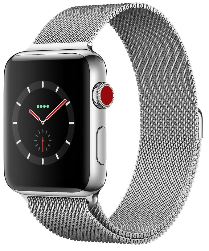 Часы Apple Watch S3 (GPS+LTE) 42mm Stainless Steel Case/Milanese Loop (MR1J2), картинка 1