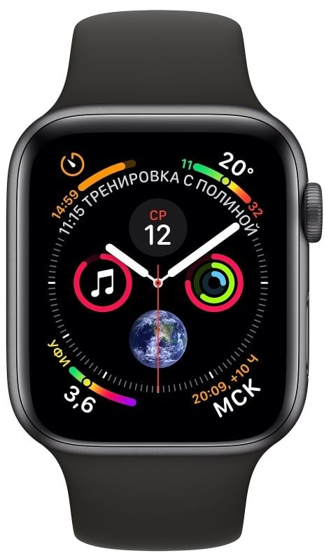 Часы Apple Watch Series 4 GPS 40mm Space Gray Aluminum Case with Black Sport Band (Серый космос / Черный) (MU662), картинка 2