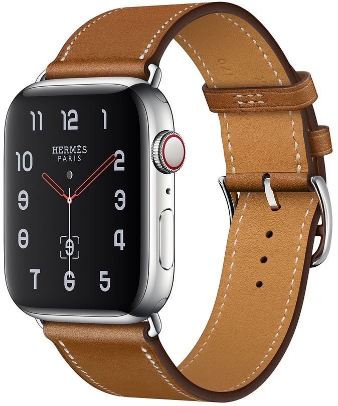 Часы Apple Watch Hermès Series 4 GPS + Cellular 40mm Stainless Steel case with Fauve Grained Barenia Leather (MU6M2), картинка 1