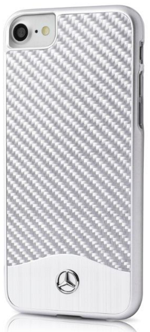 Чехол Mercedes WAVE V iPhone 7 Carbon Aluminum Hard Case Silver