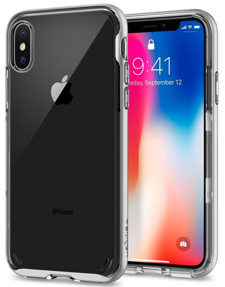 SGP Чехол iPhone X Neo Hybrid Crystal Satin Silver, картинка 1