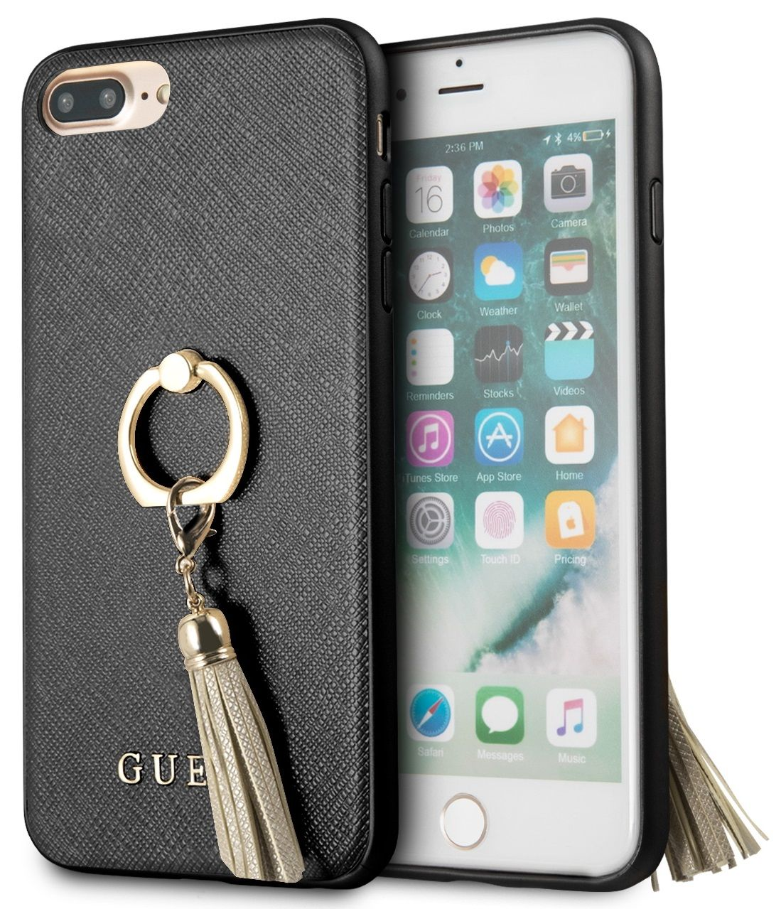 Чехол GUESS iPhone 7/8 Plus Saffiano Hard Ring Black