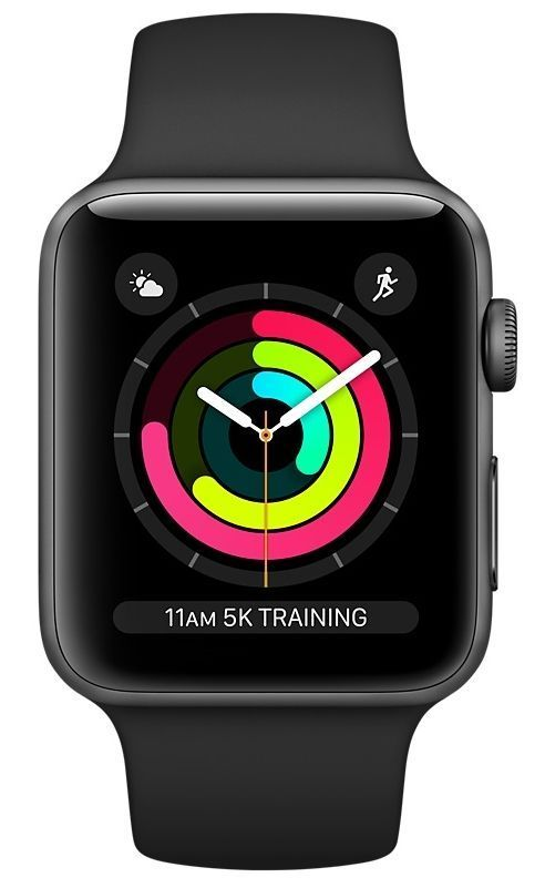 Часы Apple Watch Series 3 GPS 38mm Space Gray Aluminum case with Black Sport Band (Серый космос / Черный) (MTF02), картинка 2
