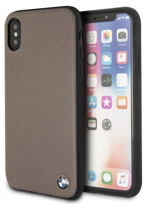 Чехол BMW iPhone X Signature Genuine Leather Hard Mocca