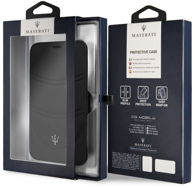 Чехол Maserati iPhone X/XS Granlusso Leather Bookcase Black, картинка 6