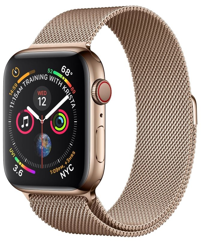 Часы Apple Watch S4 GPS+Cellular 40mm Gold Stainless Steel Case with Gold Milanese Loop (MTUT2)