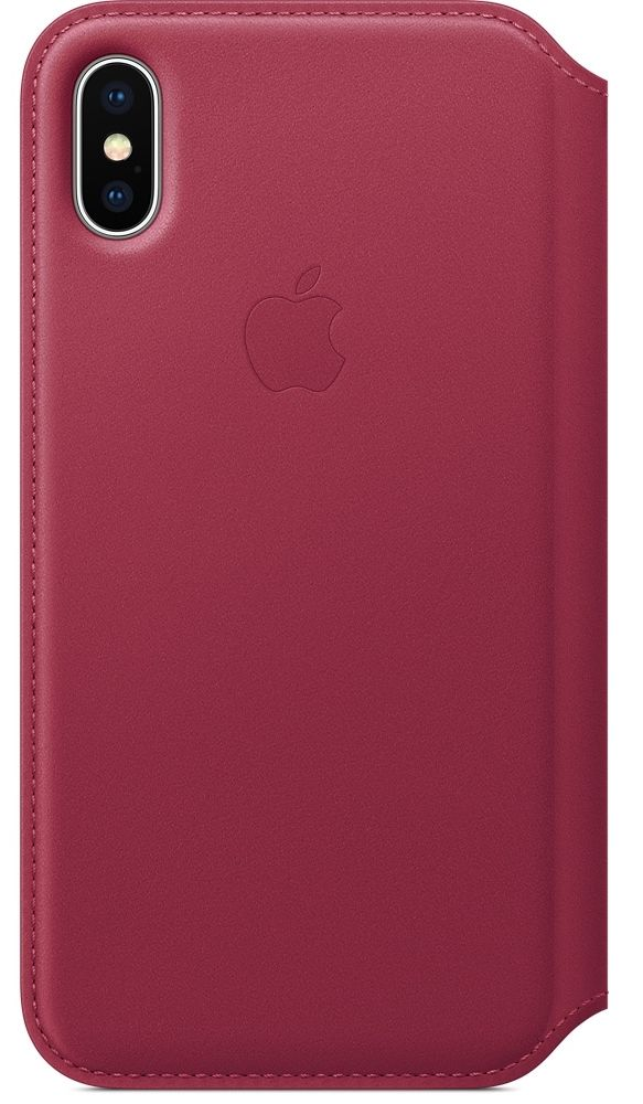 Кожаный чехол Apple iPhone X Leather Folio - Berry