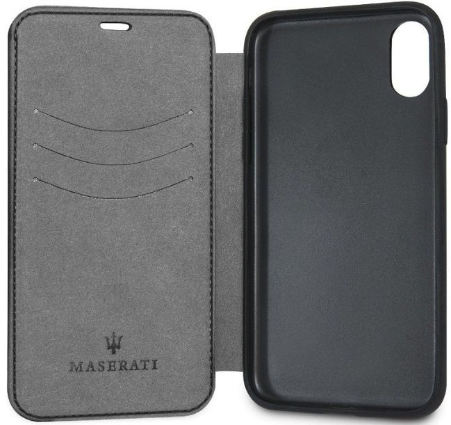 Чехол Maserati iPhone X/XS Granlusso Leather Bookcase Black, картинка 3
