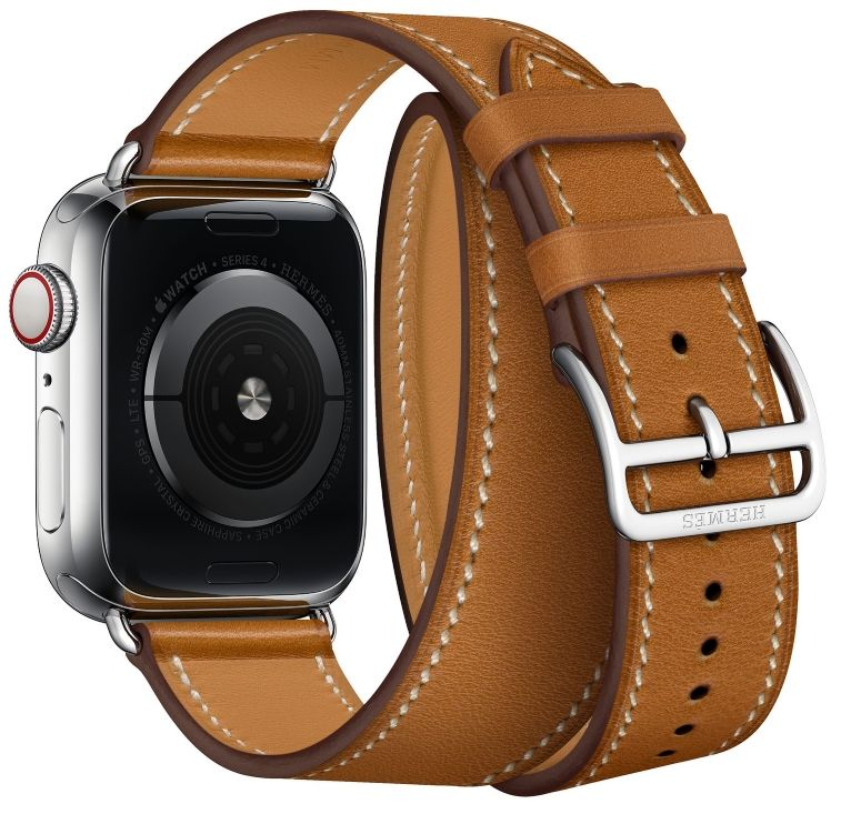 Часы Apple Watch Hermès Series 4 GPS+Cellular 40mm Stainless Steel Case with Fauve Barenia Leather Double Tour (MU6P2), картинка 4