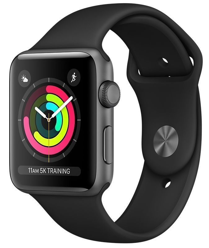 Часы Apple Watch Series 3 GPS 38mm Space Gray Aluminum case with Black Sport Band (Серый космос / Черный) (MTF02), картинка 1