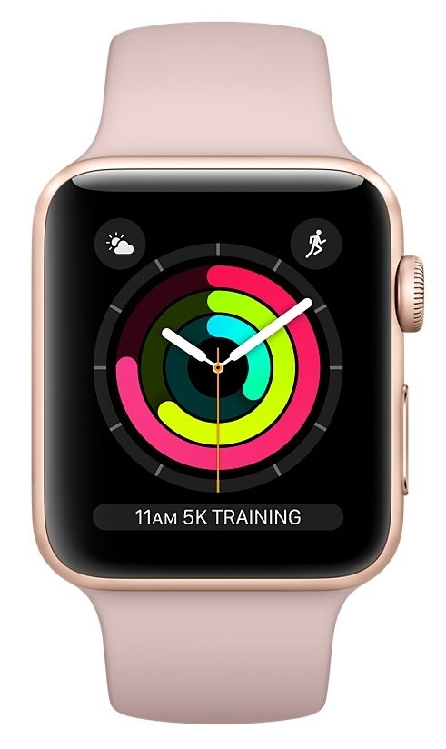 Часы Apple Watch Series 3 GPS 38mm Gold Aluminum case with Pink Sand Sport Band (MQKW2), картинка 2