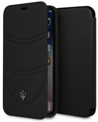Чехол Maserati iPhone X/XS Granlusso Leather Bookcase Black, картинка 1