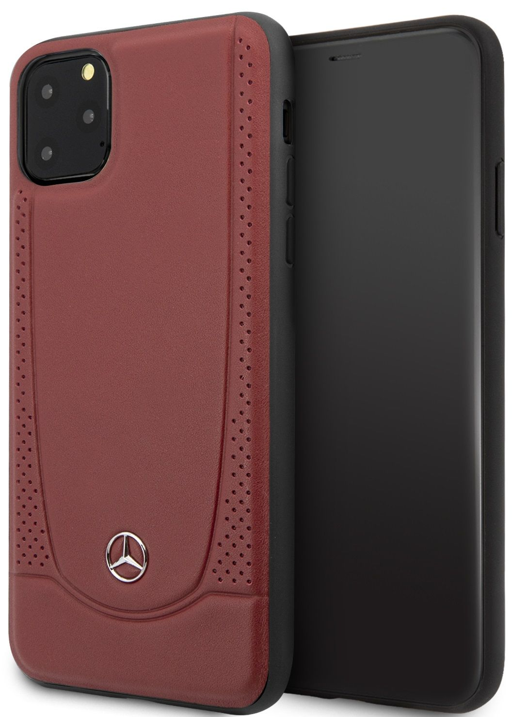 Чехол Mercedes для iPhone 11 Pro Max Urban Smooth/perforated Hard Leather Red, картинка 1