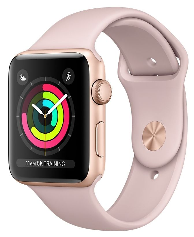 Часы Apple Watch Series 3 GPS 38mm Gold Aluminum case with Pink Sand Sport Band (MQKW2), картинка 1