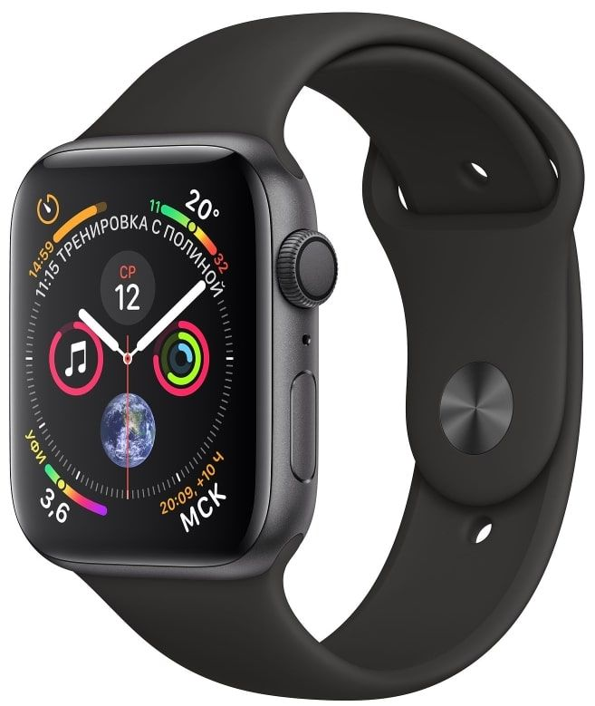 Часы Apple Watch S4 GPS 44mm Space Gray Aluminum Case with Black Sport Band (MU6D2)