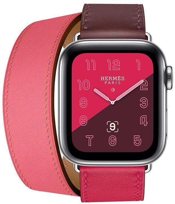Часы Apple Watch Hermès Series 4 GPS + Cellular 40mm Stainless Steel Case with Bordeaux/Rose Extrême/Rose Azalée Swift Leather Double Tour (MU6R2), картинка 2