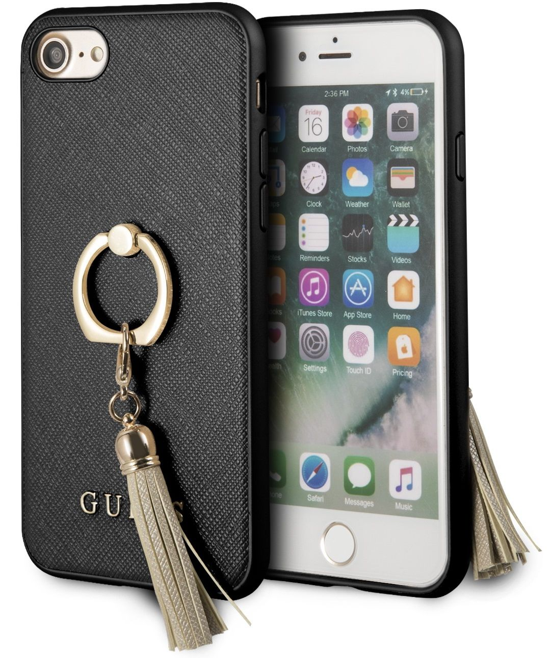 Чехол GUESS iPhone 7/8 Saffiano Hard Ring Black