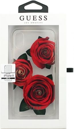 Чехол Guess iPhone X Flower desire Roses Red, картинка 3