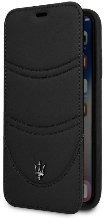 Чехол Maserati iPhone X/XS Granlusso Leather Bookcase Black, картинка 2
