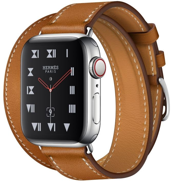 Часы Apple Watch Hermès Series 4 GPS+Cellular 40mm Stainless Steel Case with Fauve Barenia Leather Double Tour (MU6P2), картинка 1