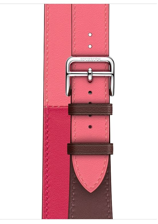 Часы Apple Watch Hermès Series 4 GPS + Cellular 40mm Stainless Steel Case with Bordeaux/Rose Extrême/Rose Azalée Swift Leather Double Tour (MU6R2), картинка 3