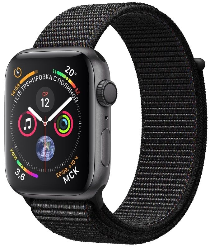 Часы Apple Watch S4 GPS 44mm Space Gray Aluminum Case with Black Sport Loop (MU6E2)