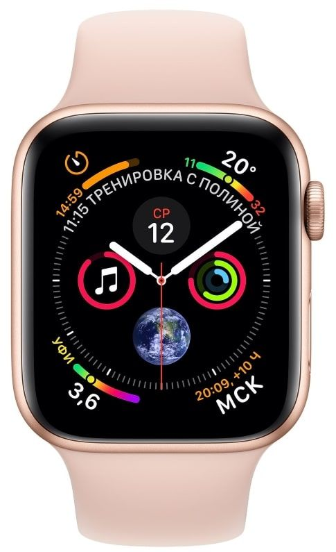 Часы Apple Watch Series 4 GPS 44mm Gold Aluminum Case with Pink Sand Sport Band (Золотистый / Розовый песок) (MU6F2), картинка 2