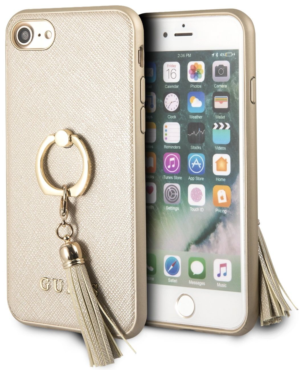 Чехол GUESS iPhone 7/8 Saffiano Hard Ring Beige