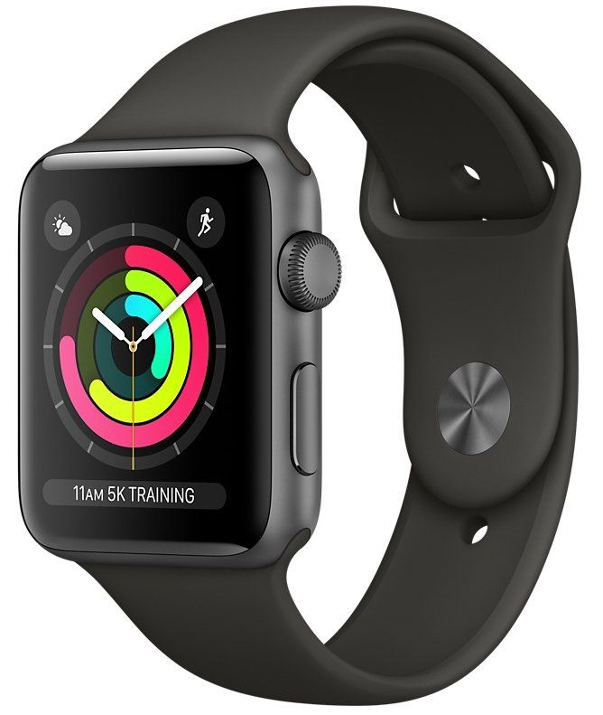 Часы Apple Watch Series 3 GPS 42mm Space Gray Aluminum case with Gray Sport Band (MR362), картинка 1