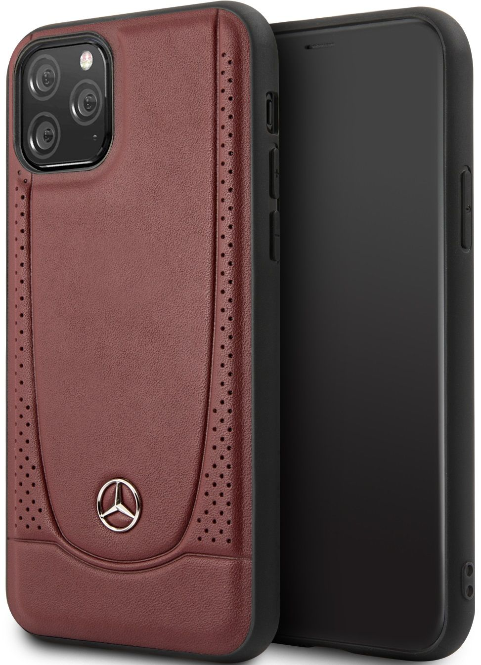 Чехол Mercedes для iPhone 11 Pro Urban Smooth/perforated Hard Leather Red