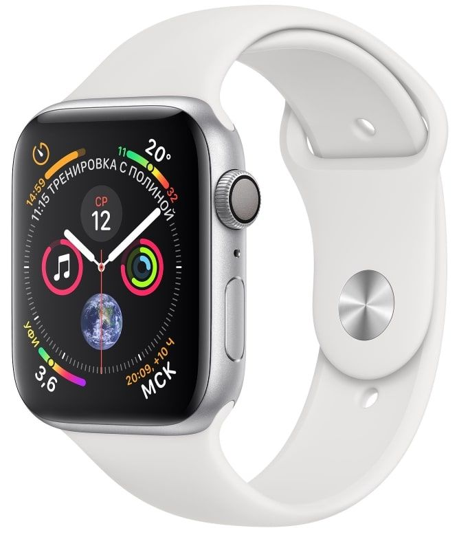 Часы Apple Watch S4 GPS 44mm Silver Aluminum Case with White Sport Band (MU6A2)