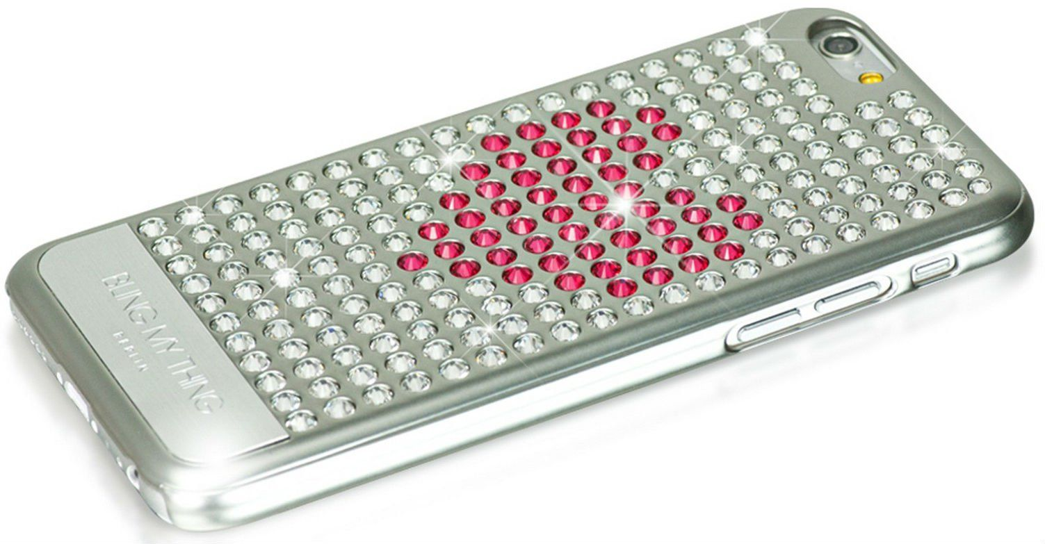 Bling My Thing iPhone 6 Swarovski Extravaganza Pink Heart Silver, картинка 3