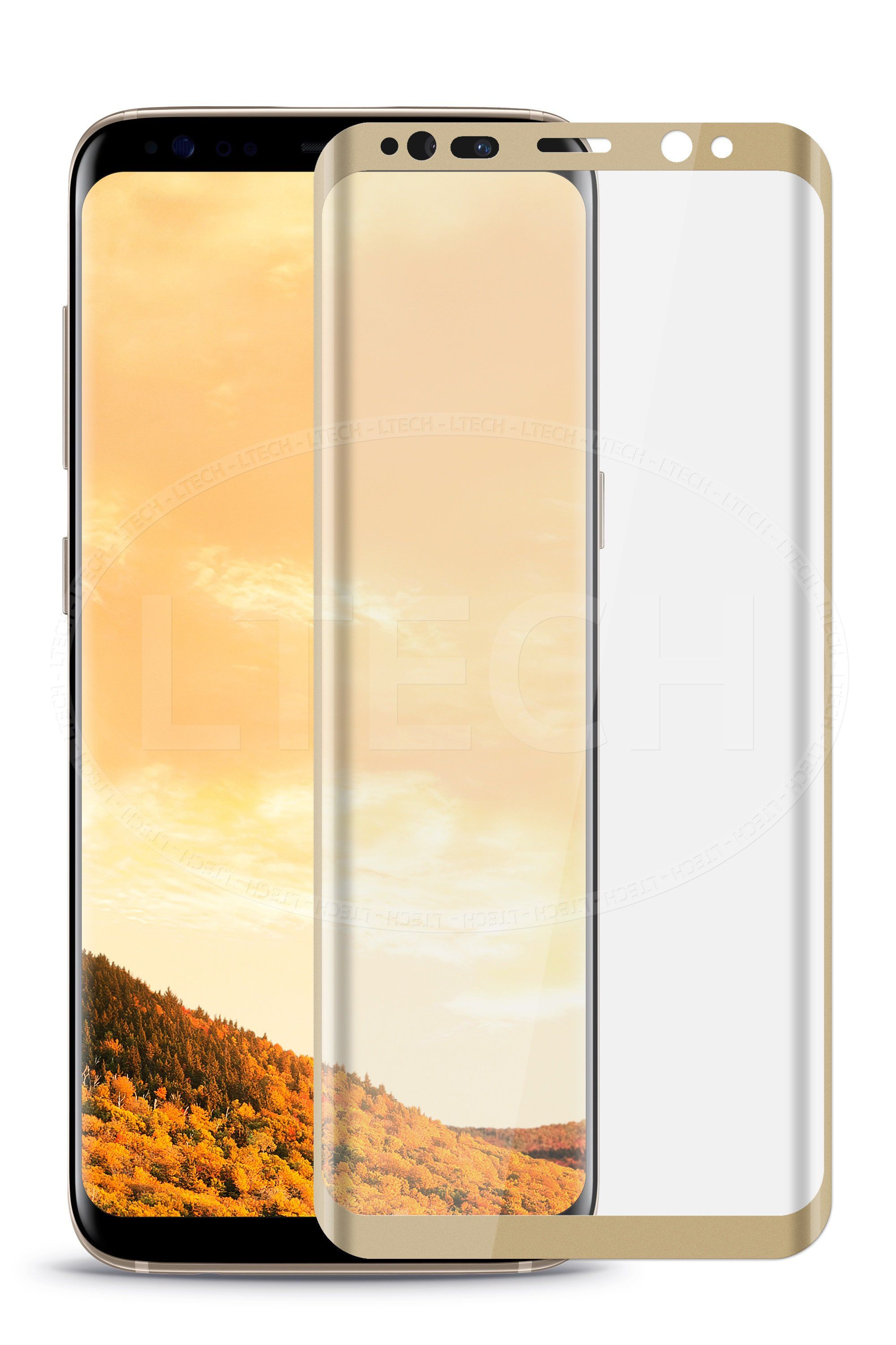 MAHAZA 3D Tempered Glass Galaxy S8  - Gold