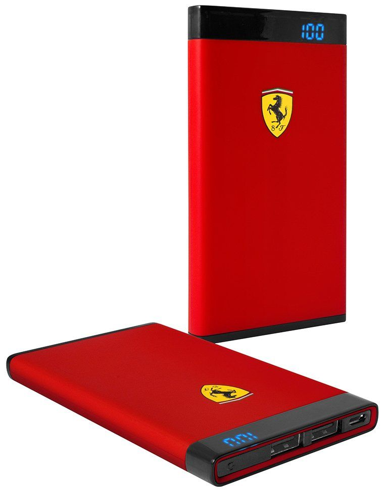 Ferrari Portable Battery Charger 12000 mAh LED - Red